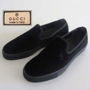 new GUCCI G logo black velvet slip on 7.5 G 8.5 US